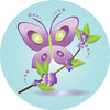 clip art image of a purple cartoon butterfly with green outlines and a branch with purple flowers and greenery clipart