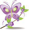 clip art cartoon of a purple and green buttterfly landing on a branch with purple flowers and green leaves clipart