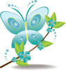 clip art cartoon of a bluegreen buttlerfly landing on a branch with bluegreen flowers and green leaves clipart