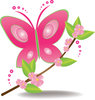 clip art illustration of a beautiful pink butterfly landing on a branch of flowers and stems clipart