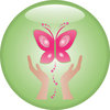 clip art image of a pair of hands setting free a pink butterfly on a green background clipart