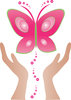 clip art image of a pair of hands freeing a pink butterfly  clipart