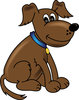 clip art illustration of a cute cartoon puppy sitting dow and smiling clipart