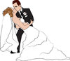 clip art image of a bride and groom. The groom is kissing the bride clipart