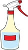 clip art image of a spray bottle with a red label clipart