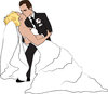 clip art image of a groom dipping his wife, and kissing her clipart