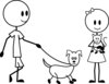 clip art of a man and woman stick figure walking their stick figure dog clipart