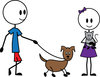 clip art image of a female and male stick figures walking a dog. The female is holding a cat clipart