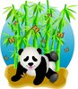 clip art illustration of a panda bear playing on the ground with butterflies and green stalks of bamboo clipart