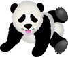 clip art image of a baby panda playing on the floor  clipart
