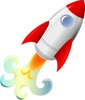 clip art image of a rocket taking off clipart