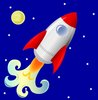 clip art image of a rocket launching with a nighttime background clipart