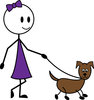 clip art illustration of a stick figure young girl walking her brown dog clipart
