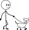 clip art image of a stick figure boy walking his dog in black and white clipart