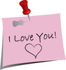 clip art image of a note that says i love you with a heart clipart