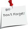 clip art image of a post it note that says don't forget clipart