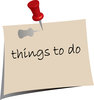 clip art image of a post it note that says things to do clipart