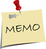 clip art image of a note pad that says memo with a push pin through it clipart