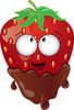 clip art image of a fresh strawberry with a happy face dipped in chocolate clipart