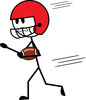 clip art illustration of a stick figure wearing a football helmut and running with a football clipart