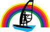 clip art image of a guy windsurfing under a rainbow clipart