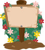 clip art illustration of a  wooden garden sign in the dirt with a flowery bush behind it clipart