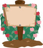 clip art illustration of a wooden sign in a garden of rose bushes clipart