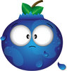clip art illustration of a cartoon blueberry with a funny face and crossed eyes clipart