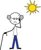 clip art illustration of a stick figure man with a cane standing in the hot sun sweating clipart