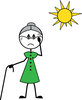 clip art illustration of an elderly woman with a cane sweating under a hot sun clipart