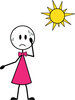 clip art illustration of a young girl sweating under the hot sun clipart
