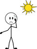 clip art illustration of a stick figure sweating under the hot sun clipart