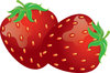 clip art image of fresh strawberries with a stem clipart
