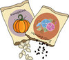 clip art illustration of packets of pumpkin, and morning glory seeds clipart