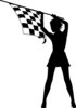 clip art silhouette of a sexy woman holding a black and white checkered flag in the air clipart