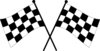 clip art illustration of two black and white checkered flags crossed over each other  clipart