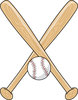 clip art illustration of criss crossed baseball bats and a baseball clipart