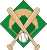 clip art illustration of two baseball bat and a baseball over a baseball diamond clipart