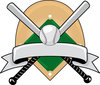 clip art illustration of baseball bats and a baseball crisscrossed over a baseball diamond clipart