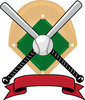 clip art illustration f two baseball bats, a baseball and a banner in front of a baseball diamond clipart