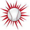 clip art illustration of a baseball with a red star burst behind it clipart