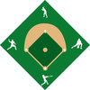 clip art illustration of a baseball diamond with silhouette players clipart