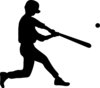 clip art silhouette of a boy hitting a baseball clipart
