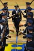 Air Force Honor Guard Drill Team Performing at Ellsworth Air Force Base. clipart