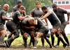 Air Force Rugby Team Playing Against the Army Team at Camp Lejeune, NC. clipart