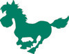 green silhouette of a horse galloping clipart