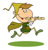 old english child with a flute clipart