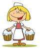 medeival girl child carrying pales of milk clipart