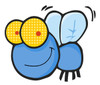 cartoon flying buzzing around clipart