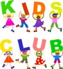 "Cute cartoon kids, boys and girls, holding up a ""kids club"" sign clipart"